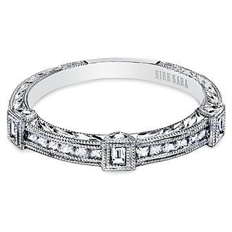 Kirk Kara Platinum Carmella Engraved Diamond Anniversary Band, 0.38cttw