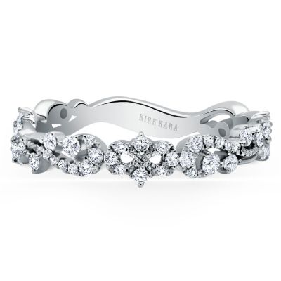 Kirk Kara 18K White Gold Diamond Scrollwork Pattern Anniversary Band