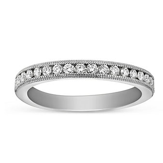 14K White Gold Diamond Anniversary Band with Milgrain Edge, 0.34cttw