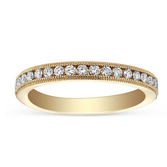 14K Yellow Gold Diamond Anniversary Band With Milgrain Edge, 0.34cttw