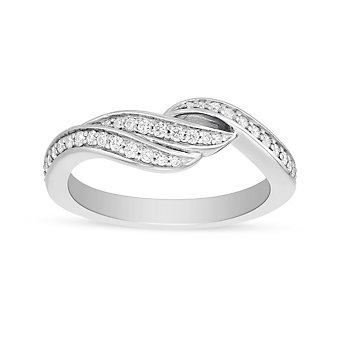 ArtCarved 14K White Gold Diamond Swirl Wedding Band