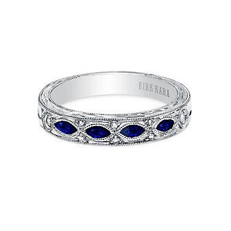 kirk kara platinum dahlia sapphire & diamond milgrain engraved anniversary band