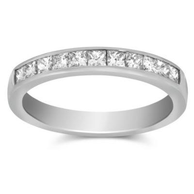14K White Gold Channel Set Princess Cut Diamond Band, 0.50cttw