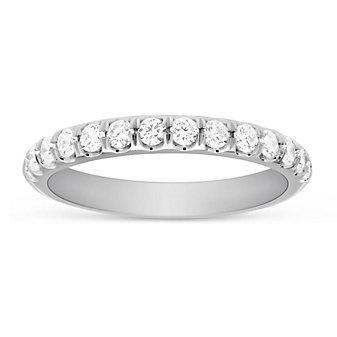 14K White Gold Round Prong Set Diamond Anniversary Band, 0.47 cttw