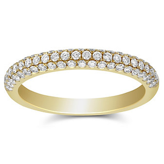 18K Yellow Gold Pave Set Diamond Band