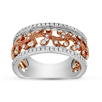 Peter Storm 18K Rose & White Gold Diamond Floral Band