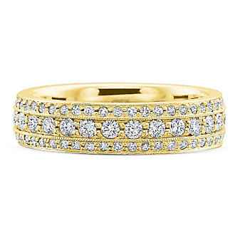 Precision Set 18K Yellow Gold Diamond Band, 0.42cttw