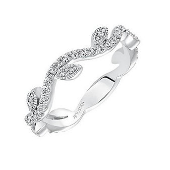 ArtCarved 14K White Gold and Round Diamond Leaf Accent Anniversary Band