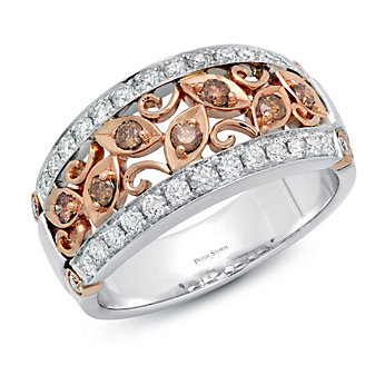 Peter Storm 18K Rose & White Gold Brown & White Diamond Band