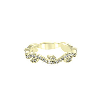 ArtCarved 14K Yellow Gold Wavy Leaf Patterned Diamond Anniversary Band