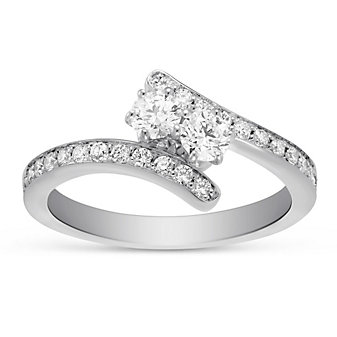 18K White Gold Round Forevermark Diamond Bypass Ring, 0.59cttw