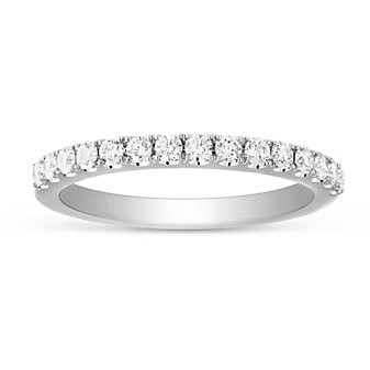 14K White Gold Prong Set Diamond Band, 0.46cttw