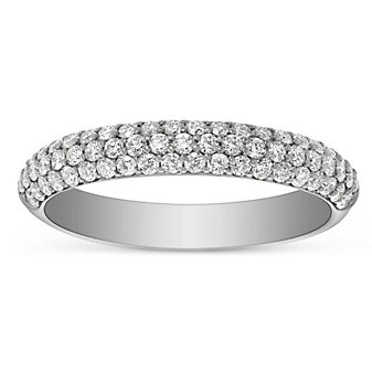 14K White Gold 3 Row Diamond Anniversary Band, 0.62cttw