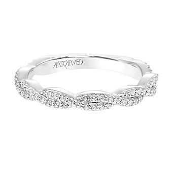 ArtCarved 14K White Gold Diamond Freesia Twist Anniversary Band