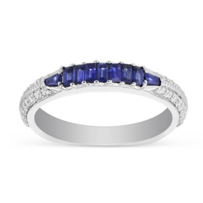 Peter Storm 18K White Gold Sraight and Baguette Sapphire and Round Diamond Anniversary Band