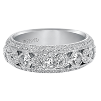 ArtCarved_14K_White_Gold_Diamond_Milgrain_Band