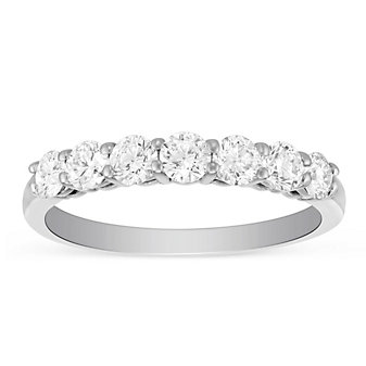 18K White Gold 7 Round Diamond Anniversary Band, 0.75cttw