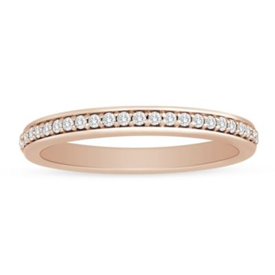 14k rose gold diamond shared prong channel set anniversary band