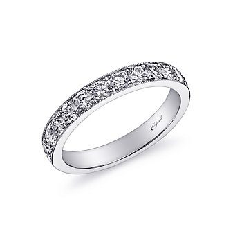 14K White Gold Prong Set Milgrain Diamond Band, 0.72cttw
