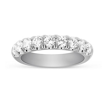 14K White Gold Prong Set Diamond Band, 1.03cttw