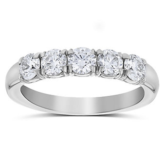 Precision Set Platinum Five Round Diamond Prong Set Band, 1.16cttw