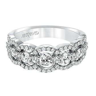 ArtCarved 14K White Gold Scalloped Diamond Band, 1.03cttw