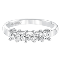 ArtCarved_14K_White_Gold_Princess_Cut_Diamond_Band,_1.00cttw