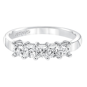 ArtCarved 14K White Gold Princess Cut Diamond Band, 1.00cttw