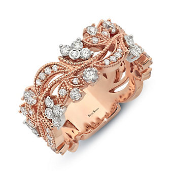 Peter Storm 18K Rose & White Gold Floral Diamond Band