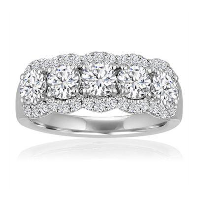 14k white gold diamond 5 stone scalloped halo anniversary band