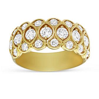 Precision Set 18K Yellow Gold Honeycomb Diamond Band