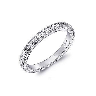 14K White Gold Swirl Pattern Milgrain Edge Anniversary Band
