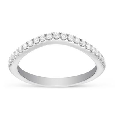 14K White Gold Diamond Curved Anniversary Band Size 6.5
