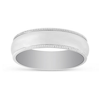 Platinum Comfort Fit Milgrain Edge Wedding Band, 6mm