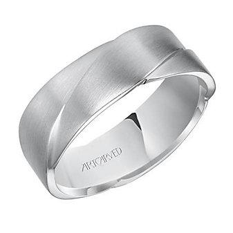 ArtCarved Platinum Ramsay Woven Satin Comfort Fit Wedding Band, 7MM