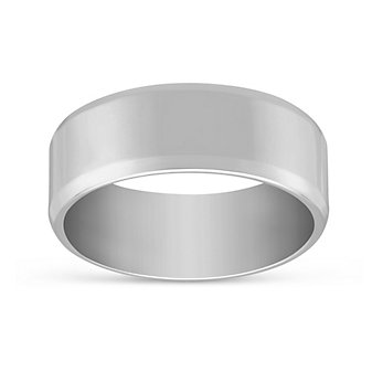 14K White Gold Men's Comfort Fit Flat Wedding Band, 7mm