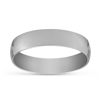 14K White Gold Men's Comfort Fit Low Dome Wedding Band, 5mm