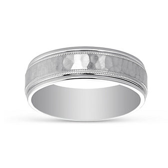 14K White Gold Hammered Milgrain Wedding Band, 6.5mm