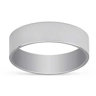 14k White Gold Comfort Fit Flat Wedding Band, 6mm