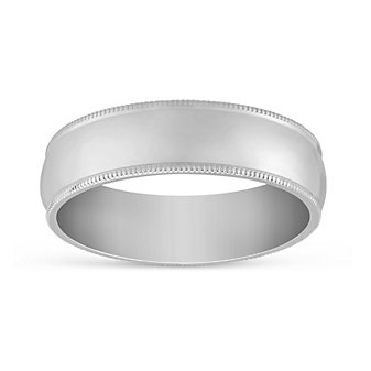 14K White Gold Men's Comfort Fit Low Dome Milgrain Edge Wedding Band. 6mm