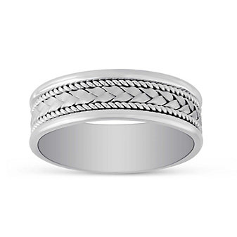 14K White Gold Woven Wedding Band, 7mm