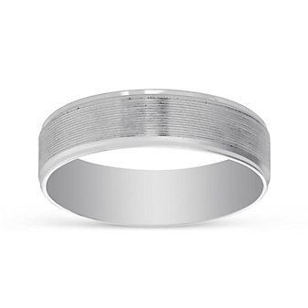14K White Gold Grooved Wedding Band With High Polished Edges, 6mm