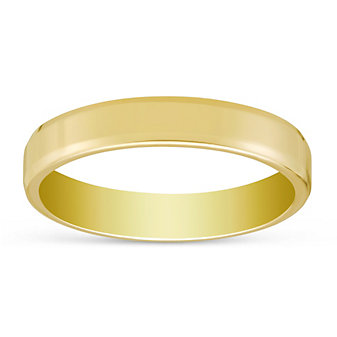 14K Yellow Gold Men's Comfort Fit Flat Wedding Band, 4mm