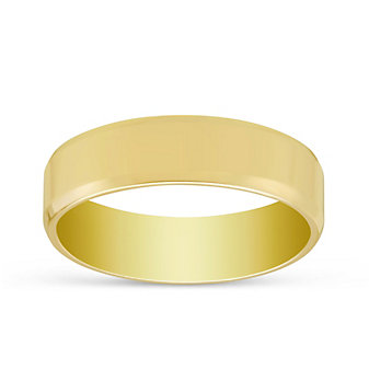 14K Yellow Gold Men's Comfort Fit Flat Wedding Band, 6mm