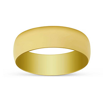 14K Yellow Gold Low Dome Comfort Fit Wedding Band, 7mm
