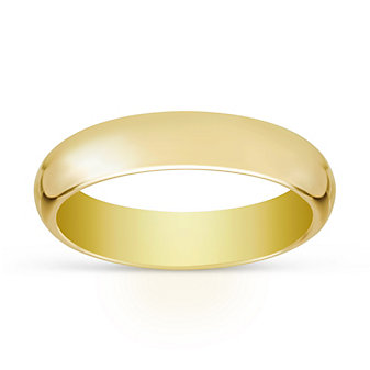14K Yellow Gold Plain Comfort Fit Wedding Band, 5mm