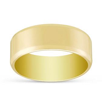14K Yellow Gold Flat Comfort Fit Wedding Band, 7mm