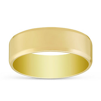 14K Yellow Gold Flat Comfort Fit Wedding Band, 8mm
