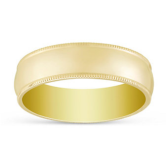 14K Yellow Gold Comfort Fit Low Dome Milgrain Edge Wedding Band, 6mm