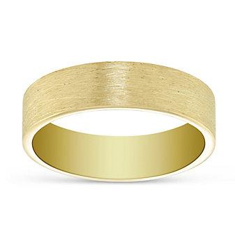 14K Yellow Gold Brushed Finish Wedding Band, 6mm